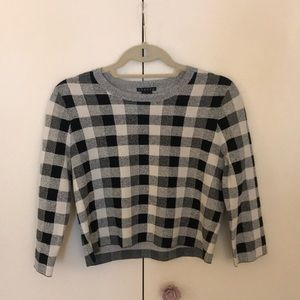 Theory Magnified Plaid Crop Top